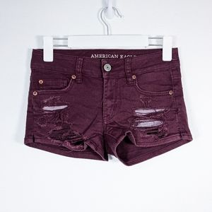American Eagle Shorties Distressed Jean Shorts 0